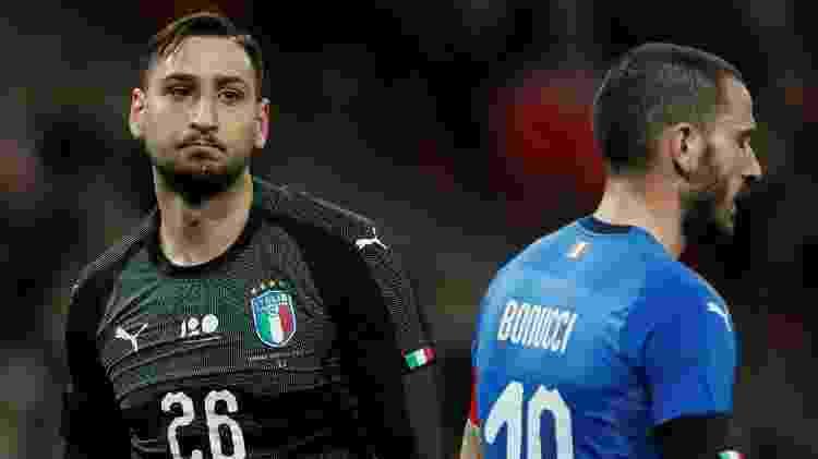 Donnarumma e Bonucci durante a partida da Itália contra a Inglaterra - REUTERS/David Klein - REUTERS/David Klein