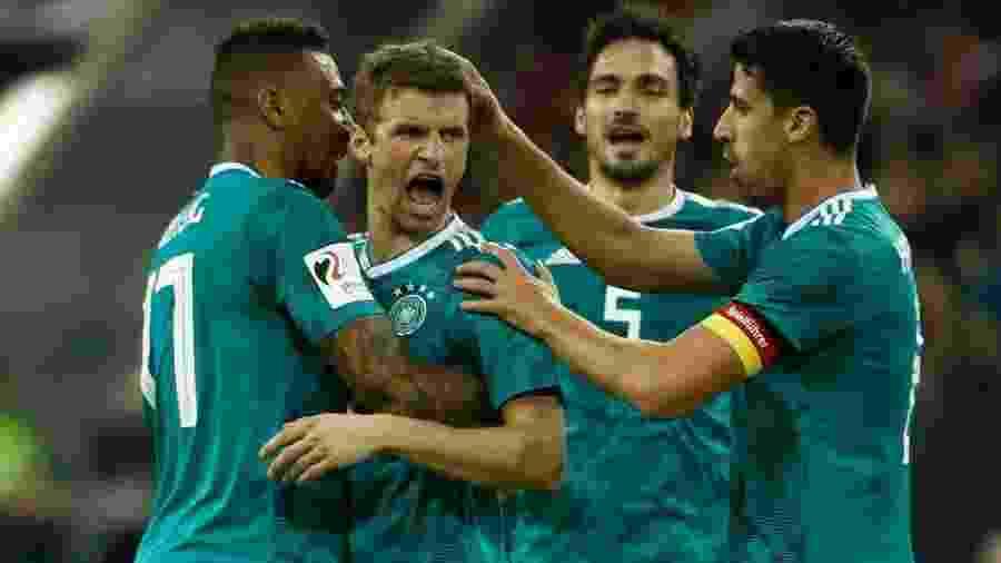 Rodrigo marcou para a Espanha, mas Thomas Müller (foto) fez para os alemães em casa - @DFB_Team_EN/Twitter
