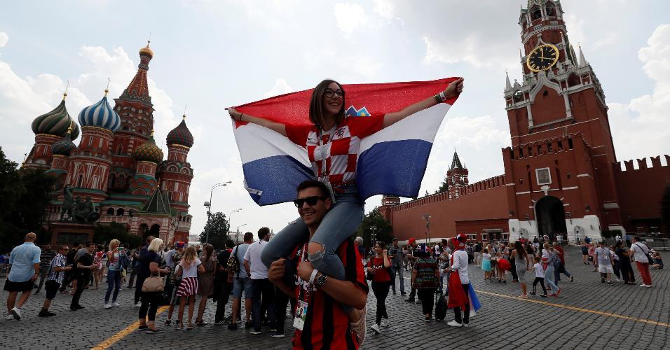 Torcedores da Croácia nas ruas de Moscou antes de final da Copa do Mundo contra a França