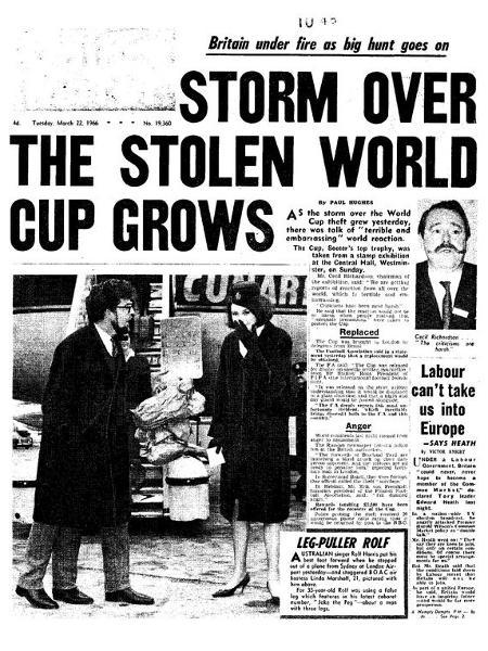 Roubo de troféu às vésperas de Copa do Mundo de 1966 provocou estardalhaço na Inglaterra; na época, autoridades não conseguiu identificar responsáveis - Reprodução