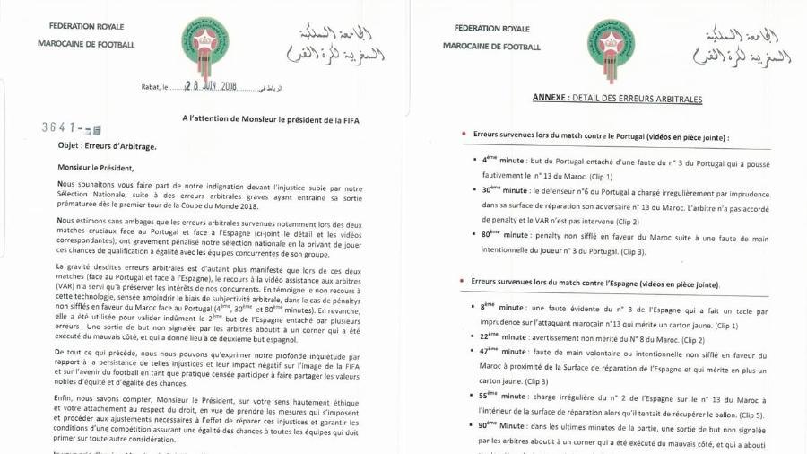 Federação Marroquina enviou carta à Fifa - Reprodução