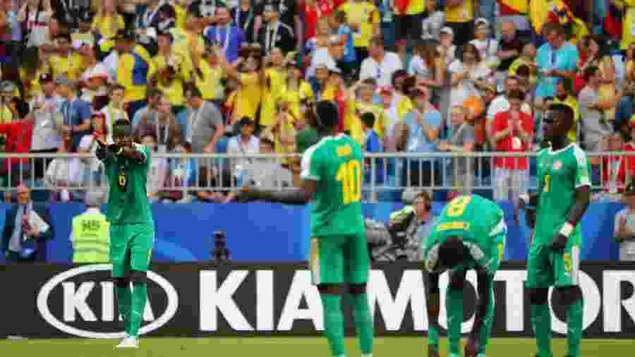 Jogadores de Senegal durante jogo contra Colômbia na Copa do Mundo da Rússia - REUTERS/Marcos Brindicci