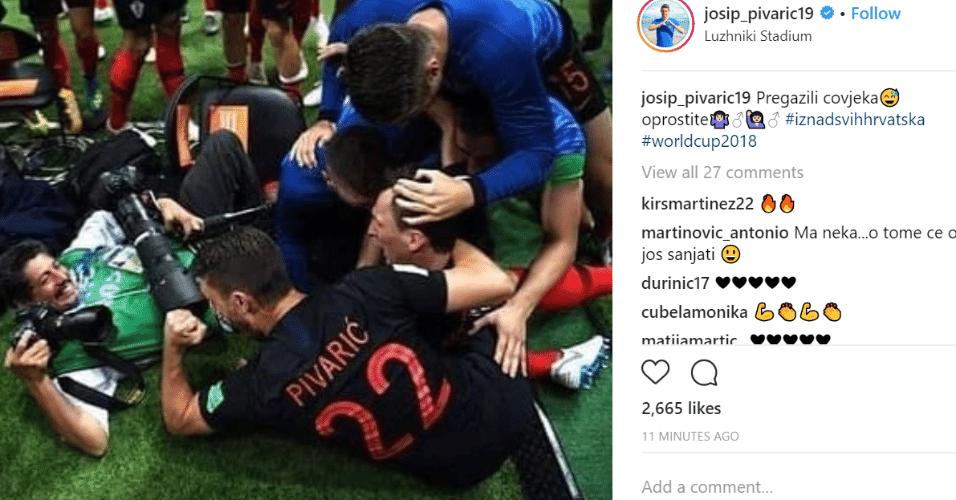 Pivaric pulica foto de comemoração de gol histórico da Croácia e pede desculpas a fotógrafo