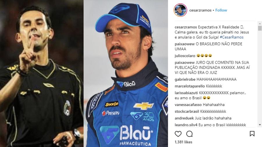 Piloto da Stock Car, Cesar Ramos avisou nas redes que não era o árbitro. Os dois têm o mesmo nome e sobrenome - Reprodução/Instagram