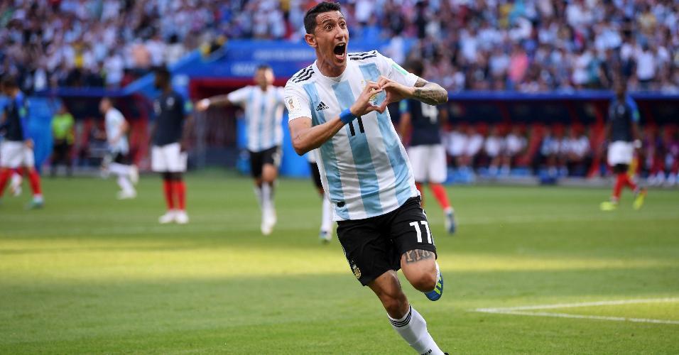 Di Maria comemora o gol de empate da Argentina no duelo contra a França
