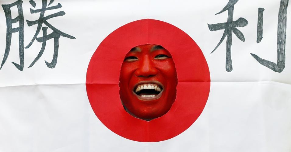 Japonês torcedor Japão bandeira