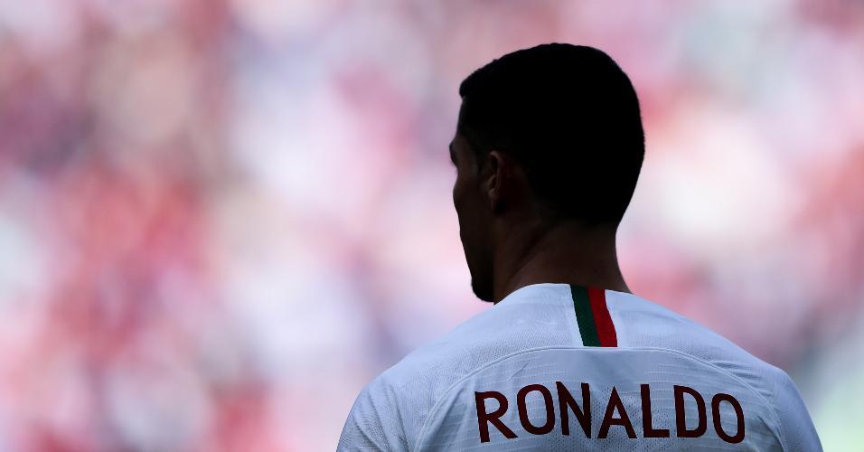 Cristiano Ronaldo durante partida entre portugal e Marrocos pela Copa do Mundo