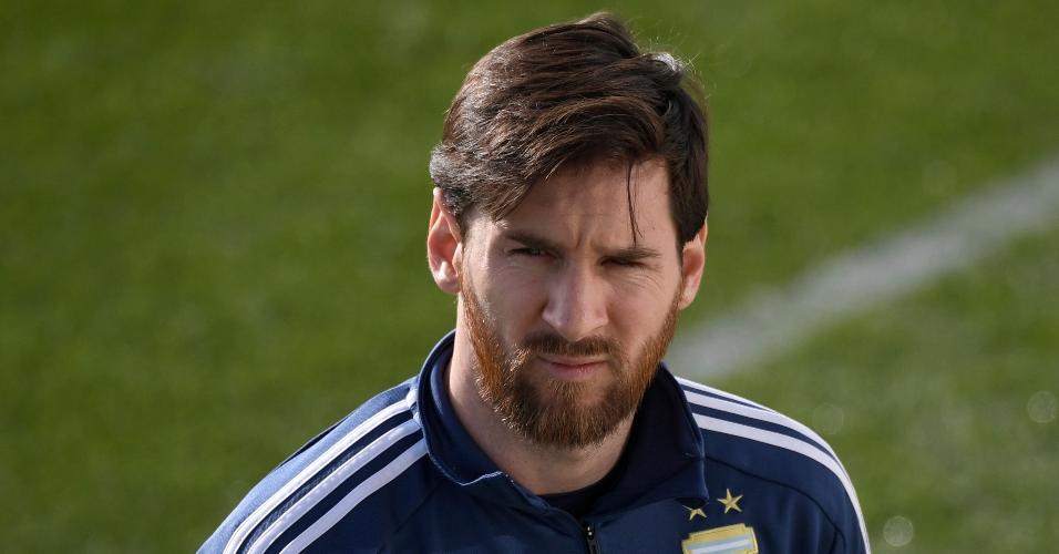 lionel Messi em treino da Argentina