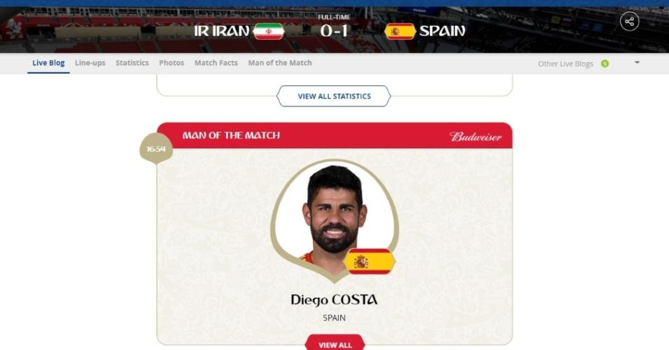Diego Costa é eleito o homem do jogo entre Irã x Espanha