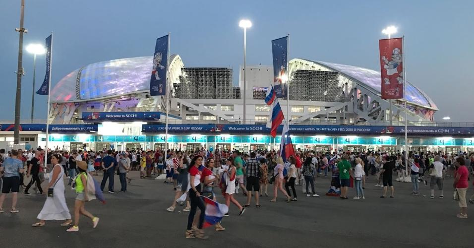 Entrada do estádio Fisht Olympic antes do confronto entre Rússia x Croácia