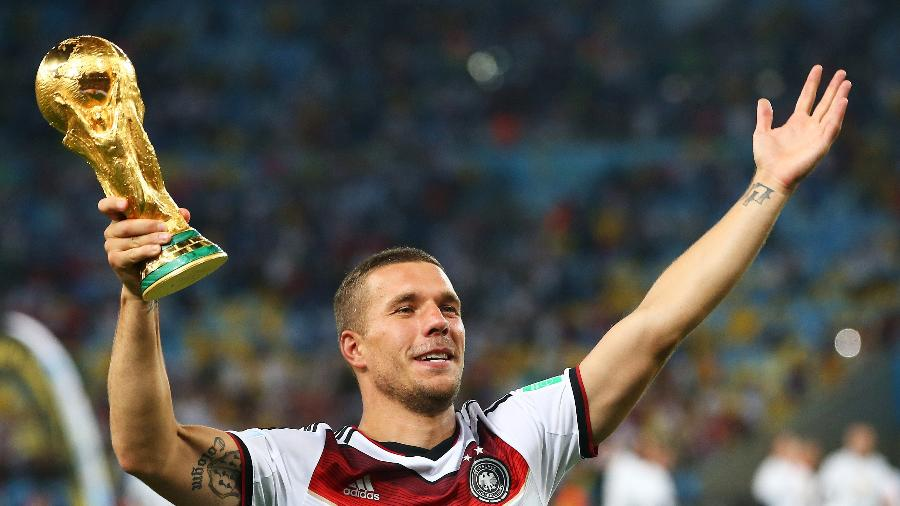 Lukas Podolski, da Alemanha, em 2014 - Julian Finney/Getty Images