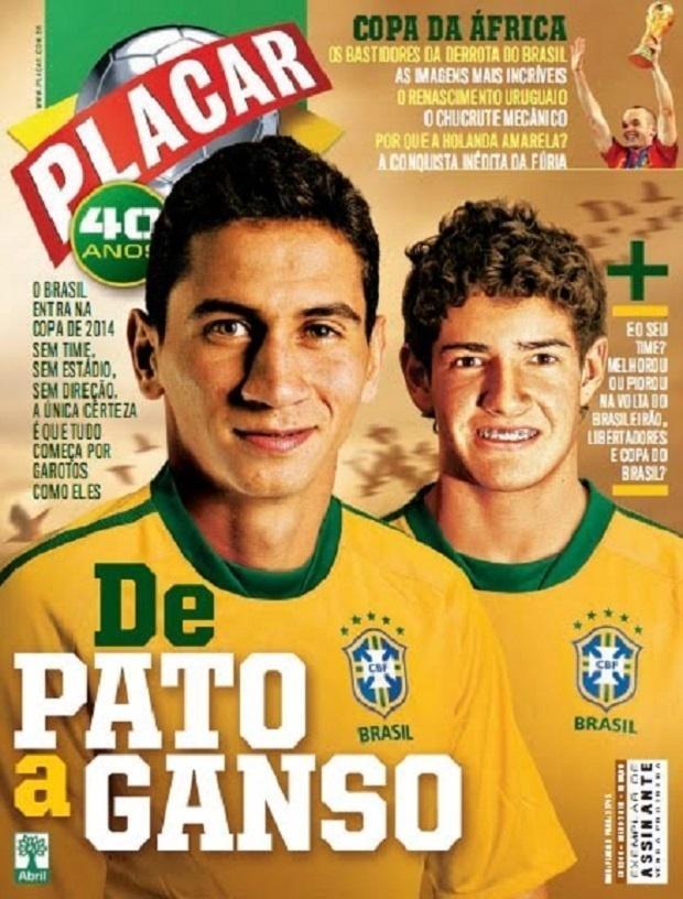 Capa da PLacar em 2010, apostando em Ganso e Pato como o futuro da seleção brasileira