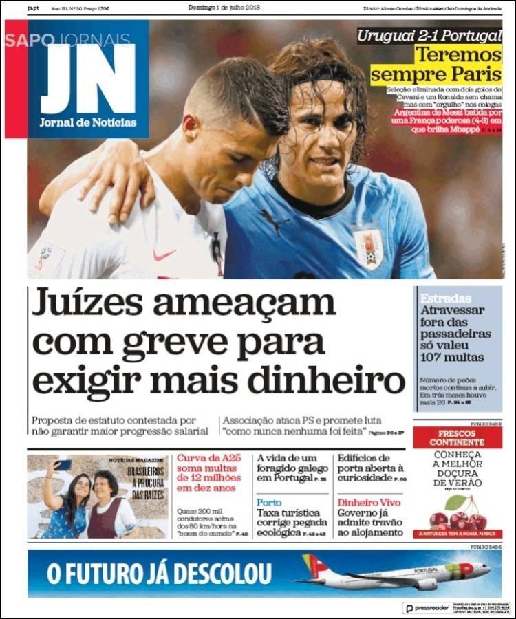 Reprodução Jornal de Notícias do dia 1/7