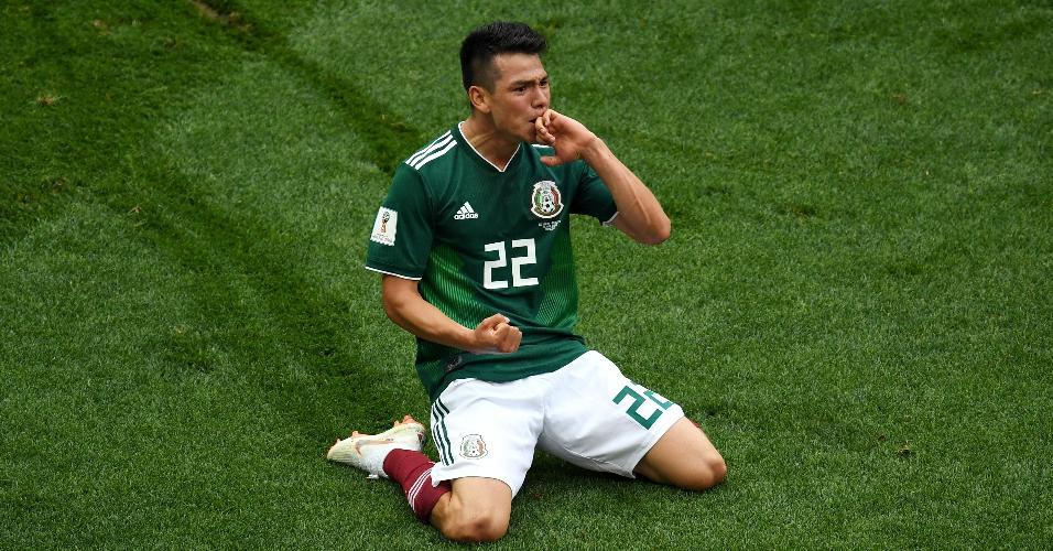 Lozano, da seleção mexicana, comemora após marcar gol sobre a Alemanha