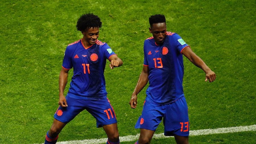 Yerry Mina comemora gol com Cuadrado: não faltou dancinha na Rússia - Julian Finney/Getty Images