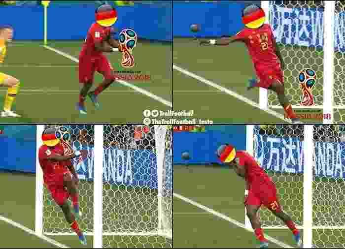 Batshuayi fez uma homenagem à Alemanha na comemoração do gol da Bélgica - Reprodução/Twitter