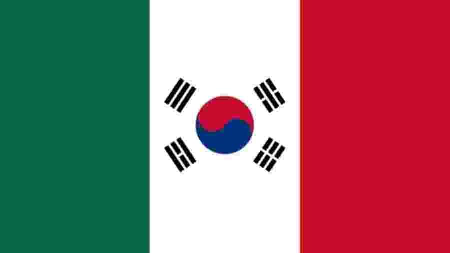 A bandeira do México ficou assim depois da classificação para as oitavas de final da Copa mesmo dando vexame contra a Suécia - Reprodução/Twitter