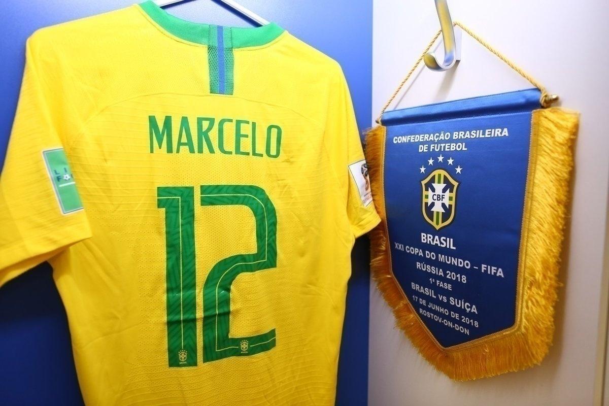 Capitão da seleção brasileira, camisa de Marcelo é guardada junta com a flâmula
