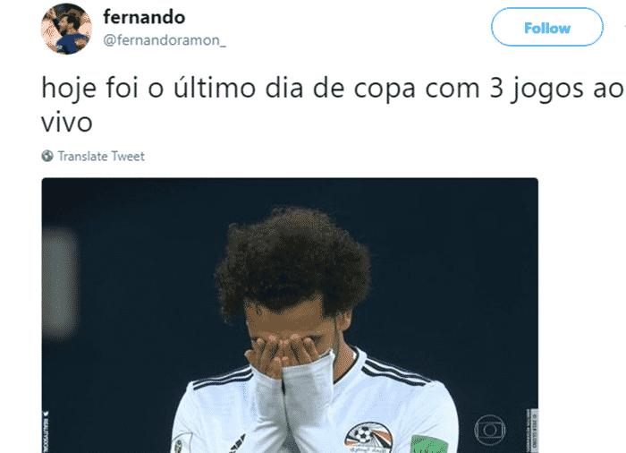 Quando a gente começava a se acostumar a ver três jogos por dia, vem aquele choque de realidade: a Copa mal começou e já está acabando - Reprodução/Twitter