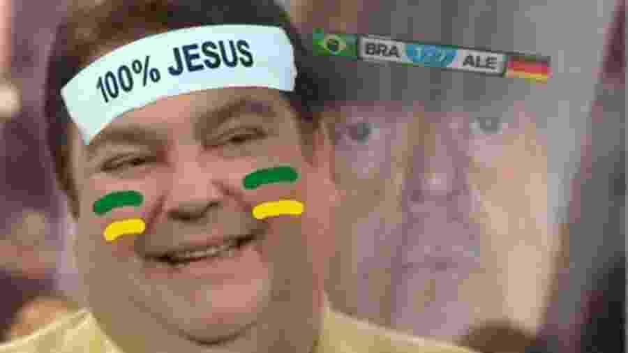 Depois da vitória da Alemanha sobre a Suécia, as chances de pegar o Brasil nas oitavas aumentaram, e esta imagem do Faustão inundou a timeline - Reprodução/Twitter