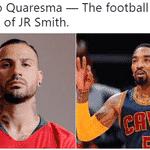 Na seleção de LeBron James, Ricardo Quaresma foi o JR Smith e fez o gol de Portugal - Reprodução/Twitter