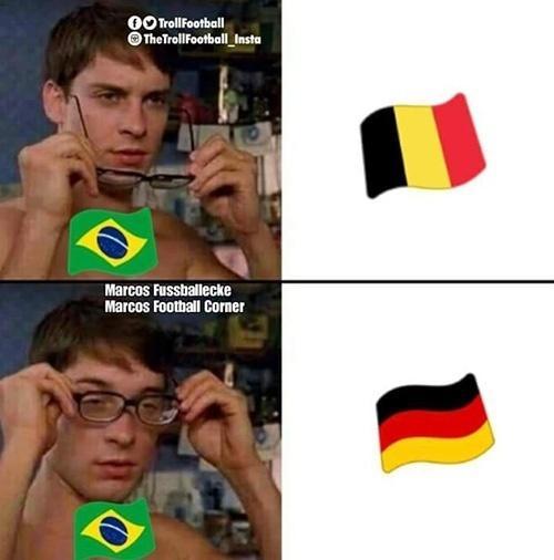A semelhança entre as bandeiras de Bélgica e Alemanha dominou a discussão nas redes sociais