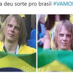 O olhar dele foi comparado ao do Canarinho Pistola e deu sorte para o Brasil - Reprodução/Twitter