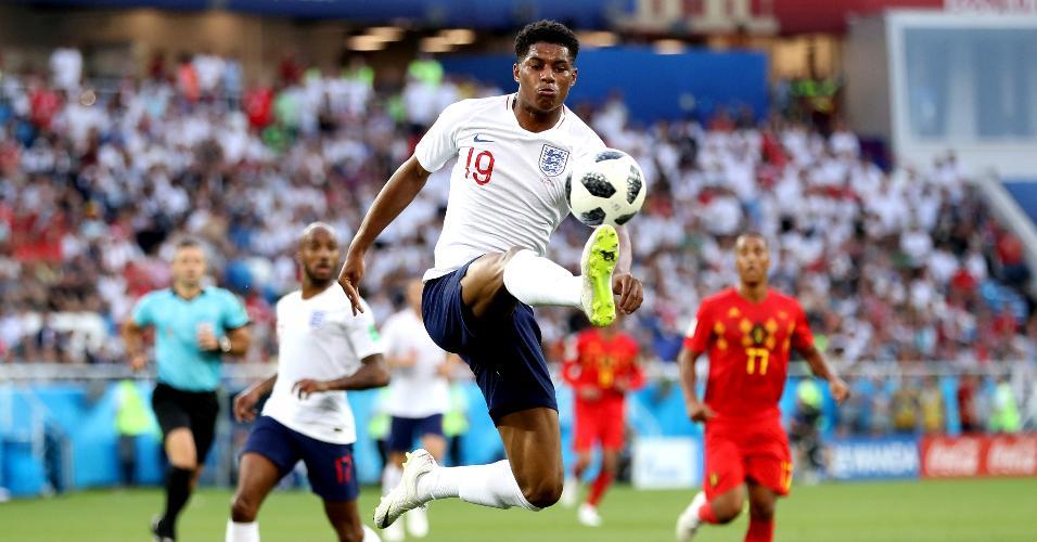 Marcus Rashford domina a bola no duelo entre Inglaterra e Bélgica