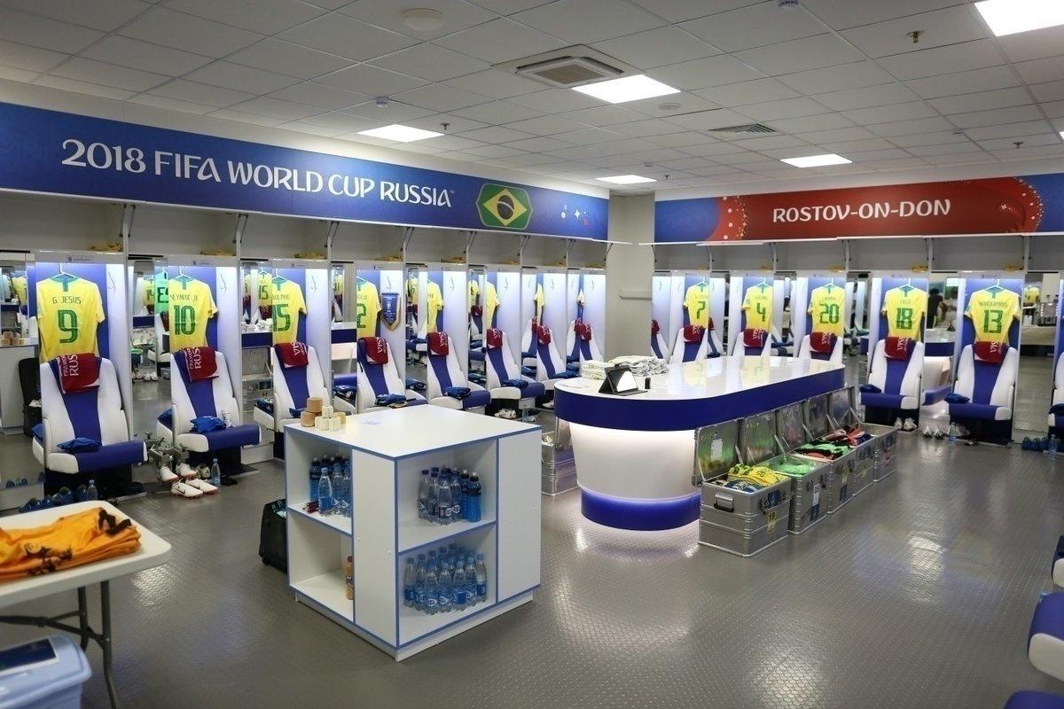 Vestiário do estádio de Rostov é organizado para receber a seleção brasileira