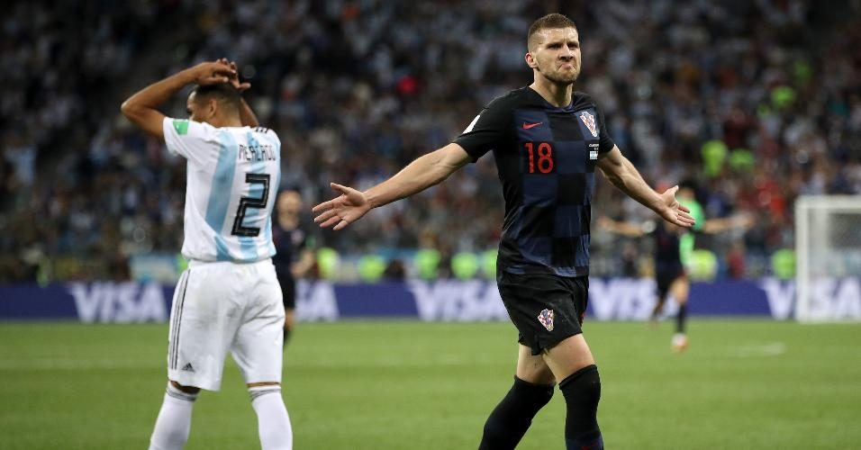 Ante Rebic comemora gol da Croácia contra a Argentina