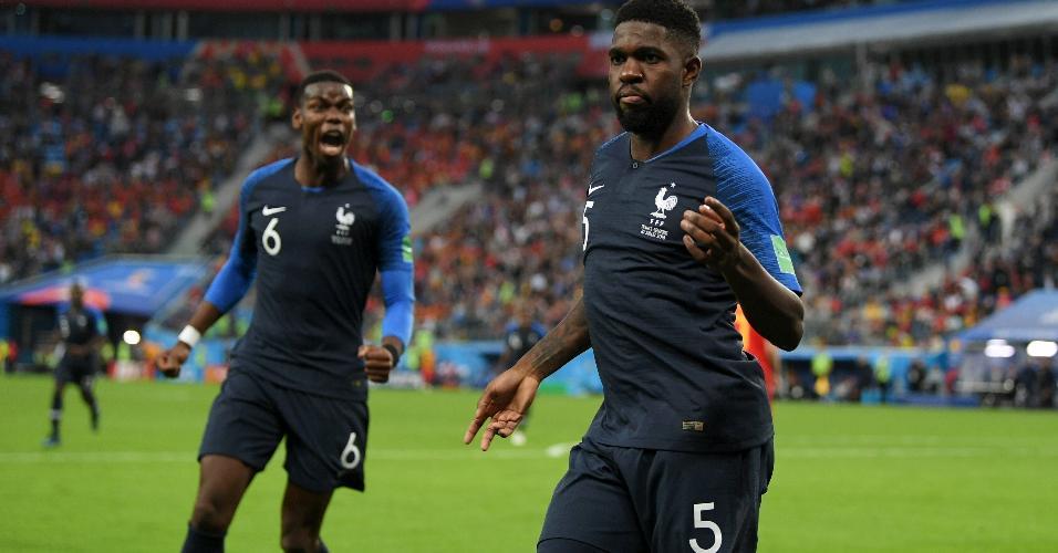 Samuel Umtiti, da França, comemora dançando após abrir o placar para sua equipe