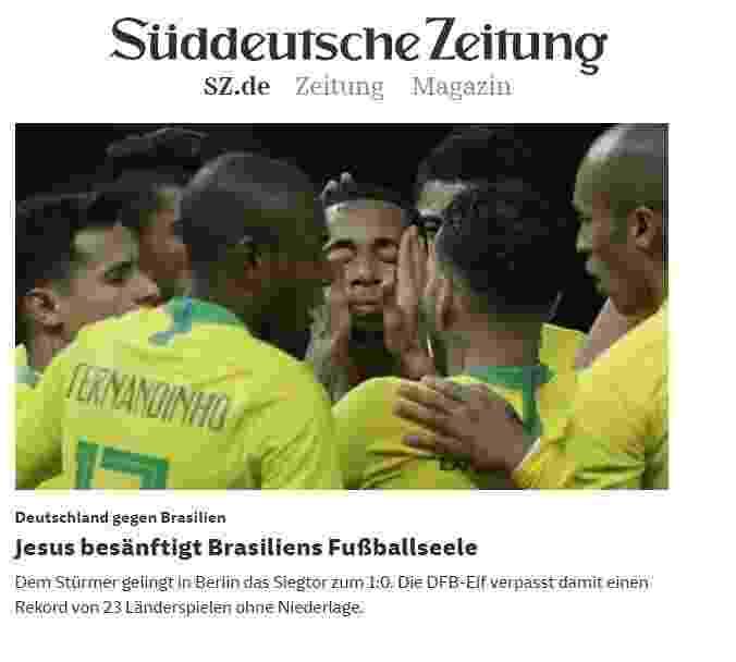 """'Süddeutsche Zeitung' diz que Gabriel Jesus Jesus """"acalmou a alma"""" do futebol brasileiro - Reprodução"""