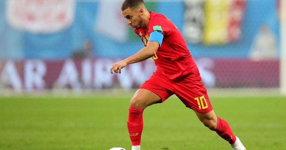 Eden Hazard, da Bélgica, em ação durante partida contra a França