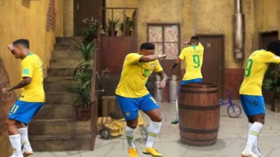 A comemoração do gol do Brasil encaixou direitinho no cenário do Chaves