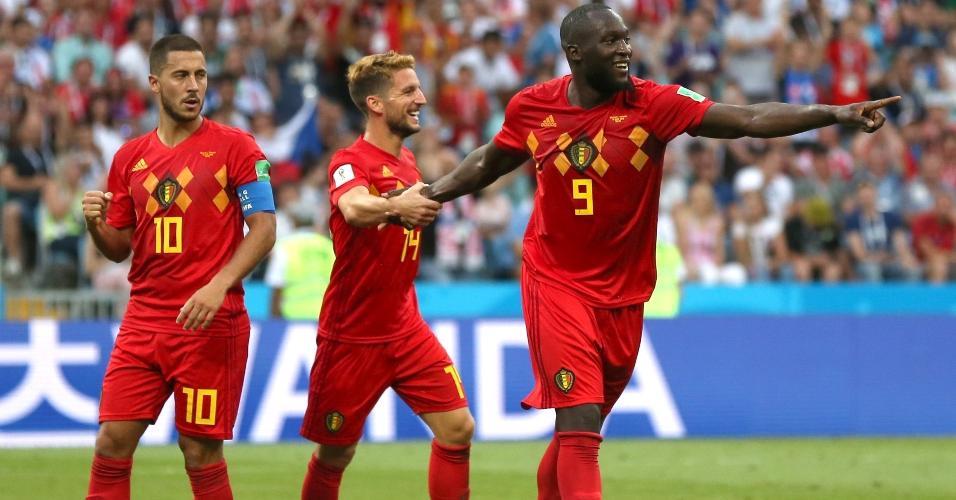 Romelu Lukaku comemora após marcar o segundo gol da Bélgica sobre o Panamá