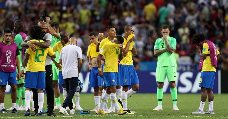 Jogadores do Brasil lamentam eliminação para a Bélgica