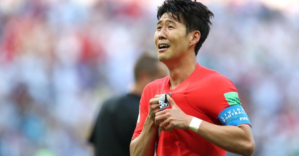 Son Heung-Mi celebra o segundo gol da Coreia do Sul contra a Alemanha