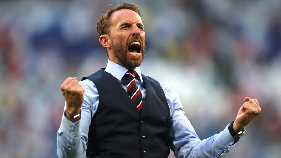 O treinador da Inglaterra, Gareth Southgate, perdeu pênalti no Wembley na Euro de 1996 - Clive Rose/Getty Images