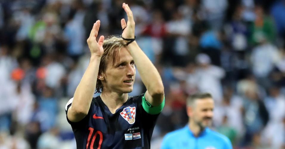 Luka Modric comemora vitória da Croácia contra a Argentina