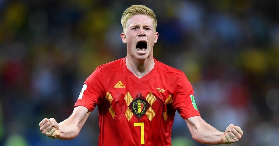 Autor do segundo gol, Kevin De Bruyne comemora classificação da Bélgica contra o Brasil