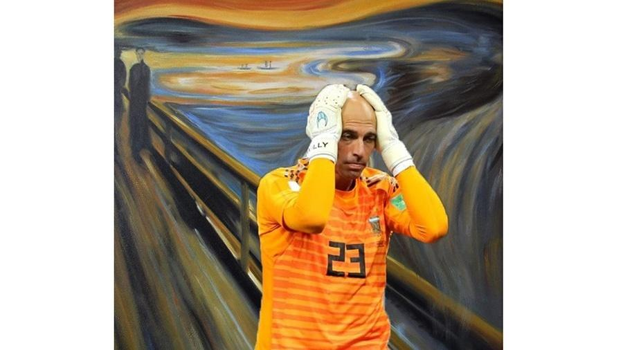 A expressão do Caballero depois da falha contra a Croácia virou até obra de arte