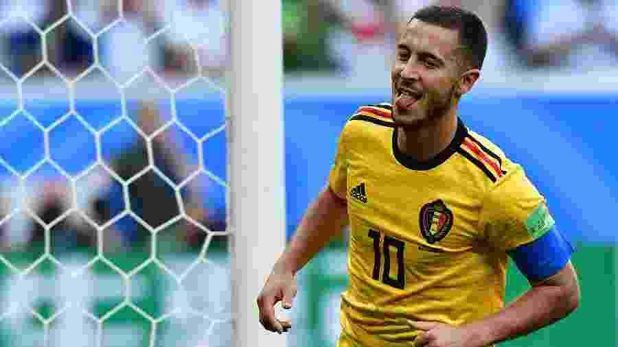 Hazard comemora o seu gol, o segundo da Bélgica contra a Inglaterra. Bélgica venceu por 2 a 0 - AFP
