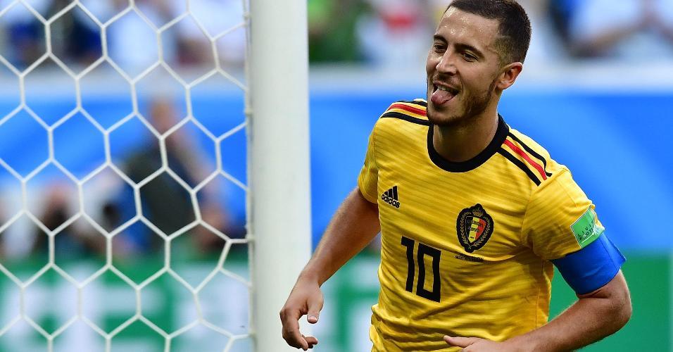Hazard comemora o seu gol, o segundo da Bélgica contra a Inglaterra. Bélgica venceu por 2 a 0