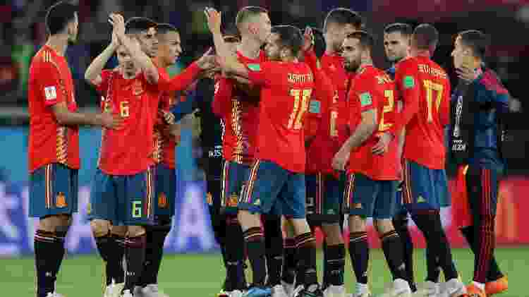 Espanha comemora empate contra Marrocos - Getty Images - Getty Images
