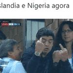 Islândia e Nigéria tiveram a chance de eliminar a Argentina, e o Maradona resumiu o sentimento dos brasileiros - Reprodução/Twitter