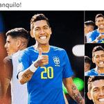 O sorriso de Firmino ilustra muito bem como a torcida tenta disfarçar seu nervosismo antes de pegar a Alemanha nas oitavas - Reprodução/Twitter