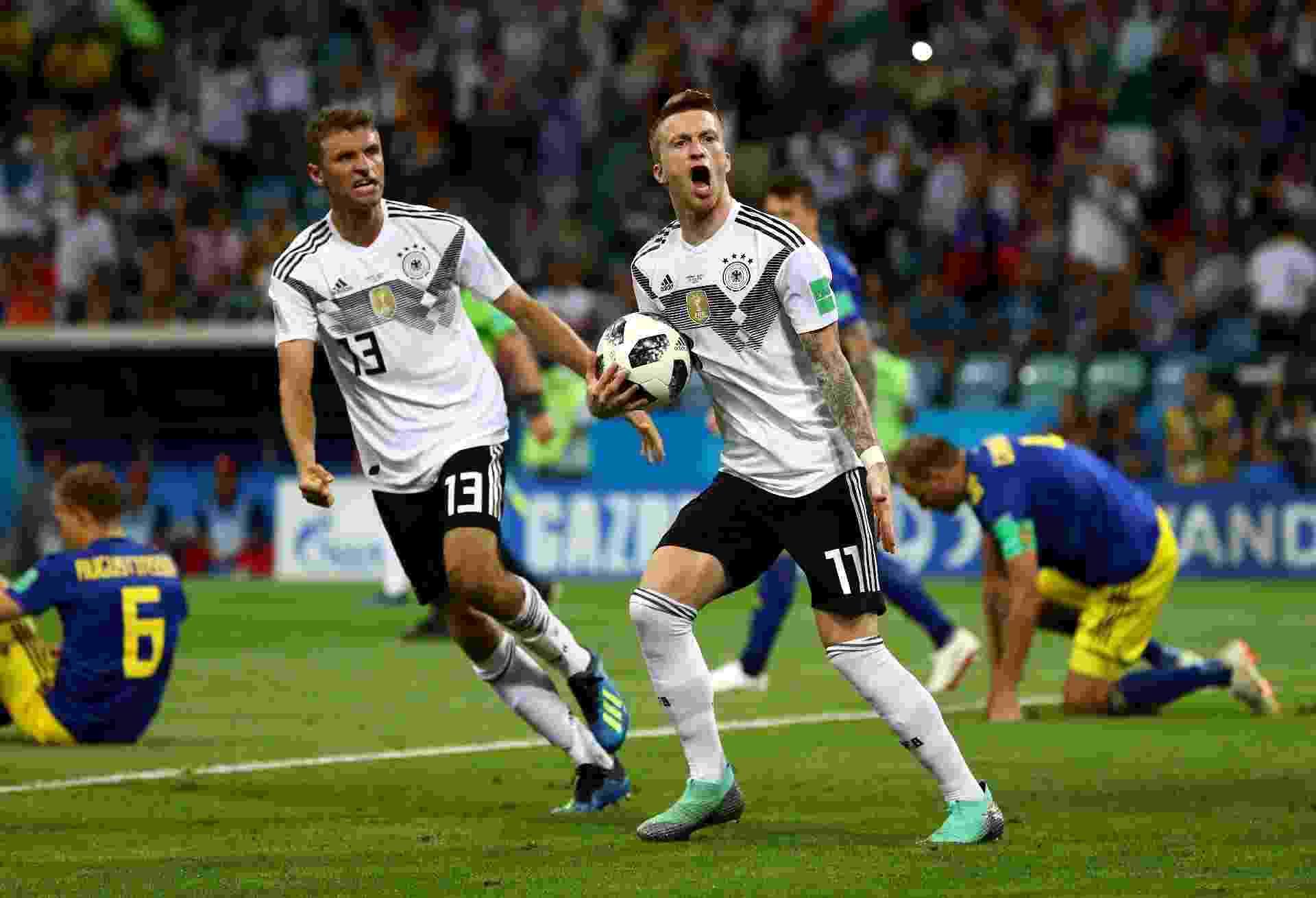 Marco Reus comemora gol da Alemanha contra a Suécia - Dean Mouhtaropoulos/Getty Images