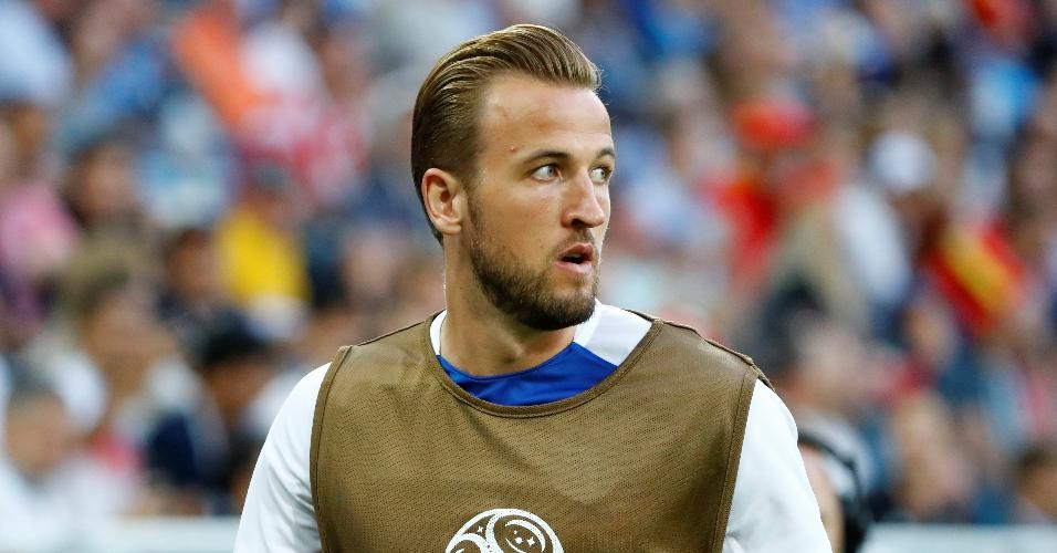 O atacante Harry Kane fica no banco de reservas no duelo entre Inglaterra e Bélgica