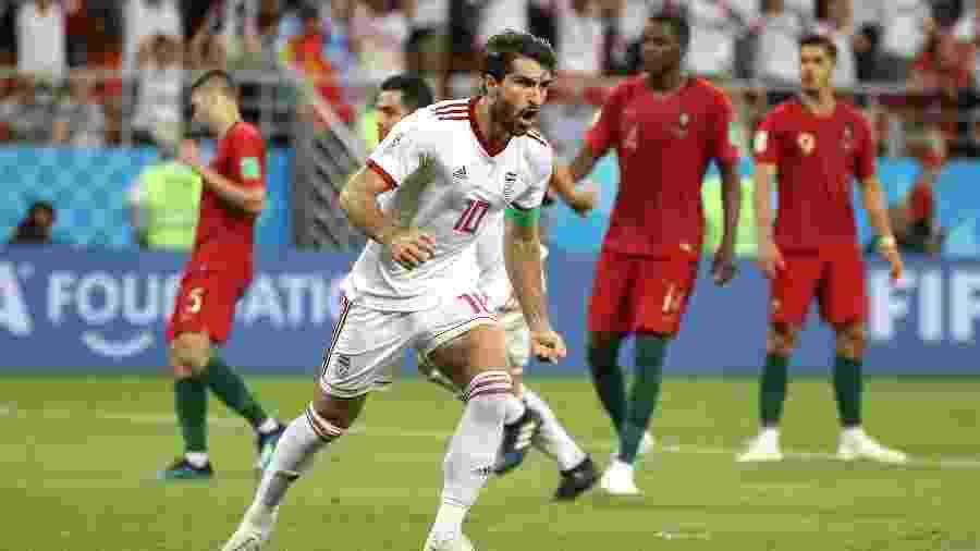 Karim Ansarifard comemora gol do Irã contra Portugal - Clive Mason/Getty Images