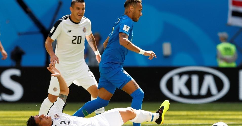 Neymar encara marcação em cima, assim como ocorreu contra a Suíça